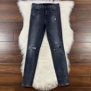 J Brand Distressed Maria High Rise Skinny Jeans